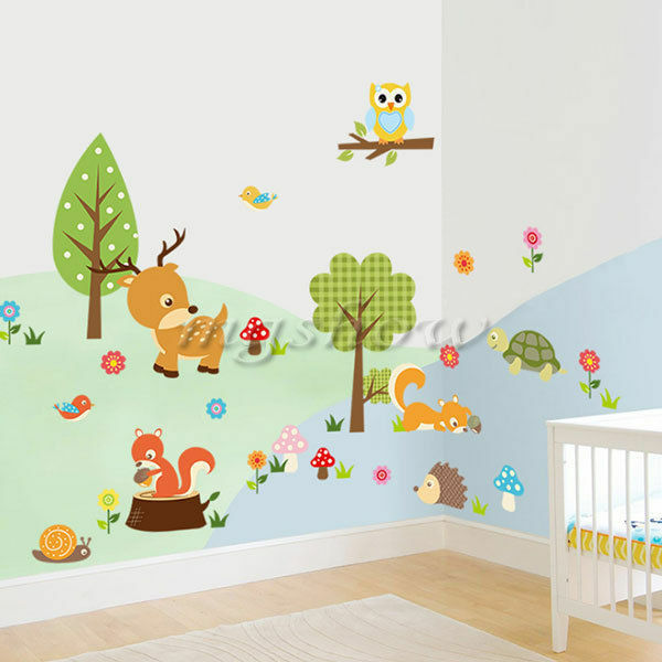 Removable animal tree owl wall sticker kids room decals for Diy tree mural nursery