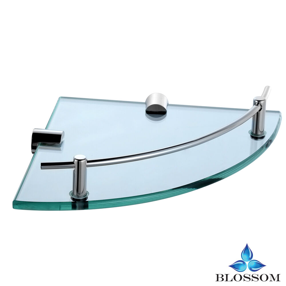 Bathroom Lavatory Wall Mounted Tempered Corner Glass Shelf