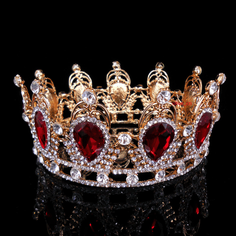6cm high ruby red sparkling crystal gold king crown