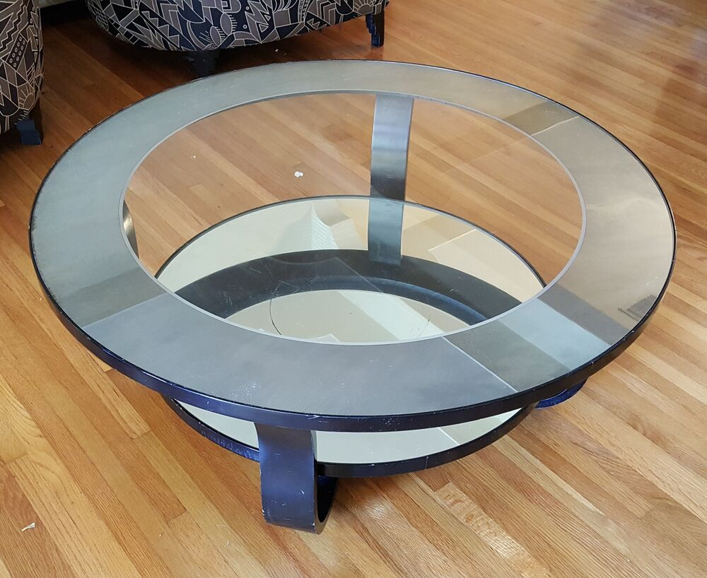 Vintage Art Deco Inspired Black Lacquered Mirror Glass Bentwood Coffee Table Ebay