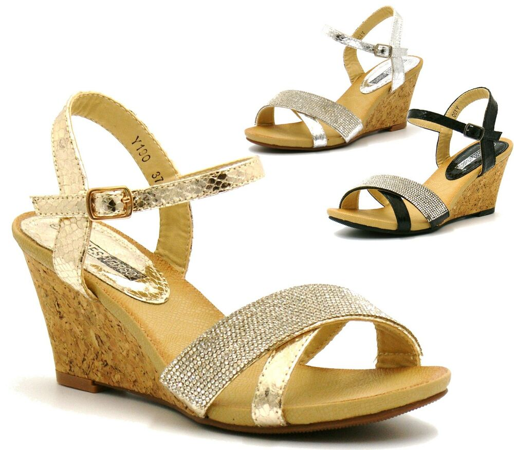 mid heel cork wedge sandals diamante fancy evening