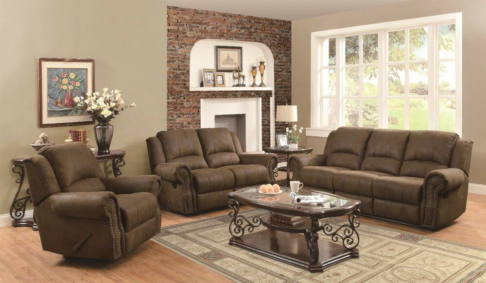 microfiber living room sets traditional 3p reclining sofa loveseat chair with nailhead 12332