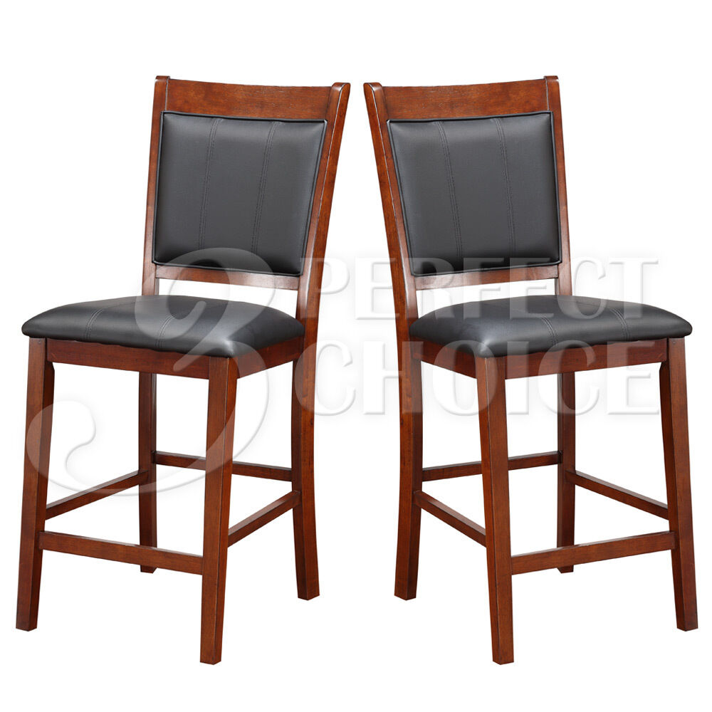 Set Of 2 Counter Height High Chair 24 Quot H Acacia Wood Black