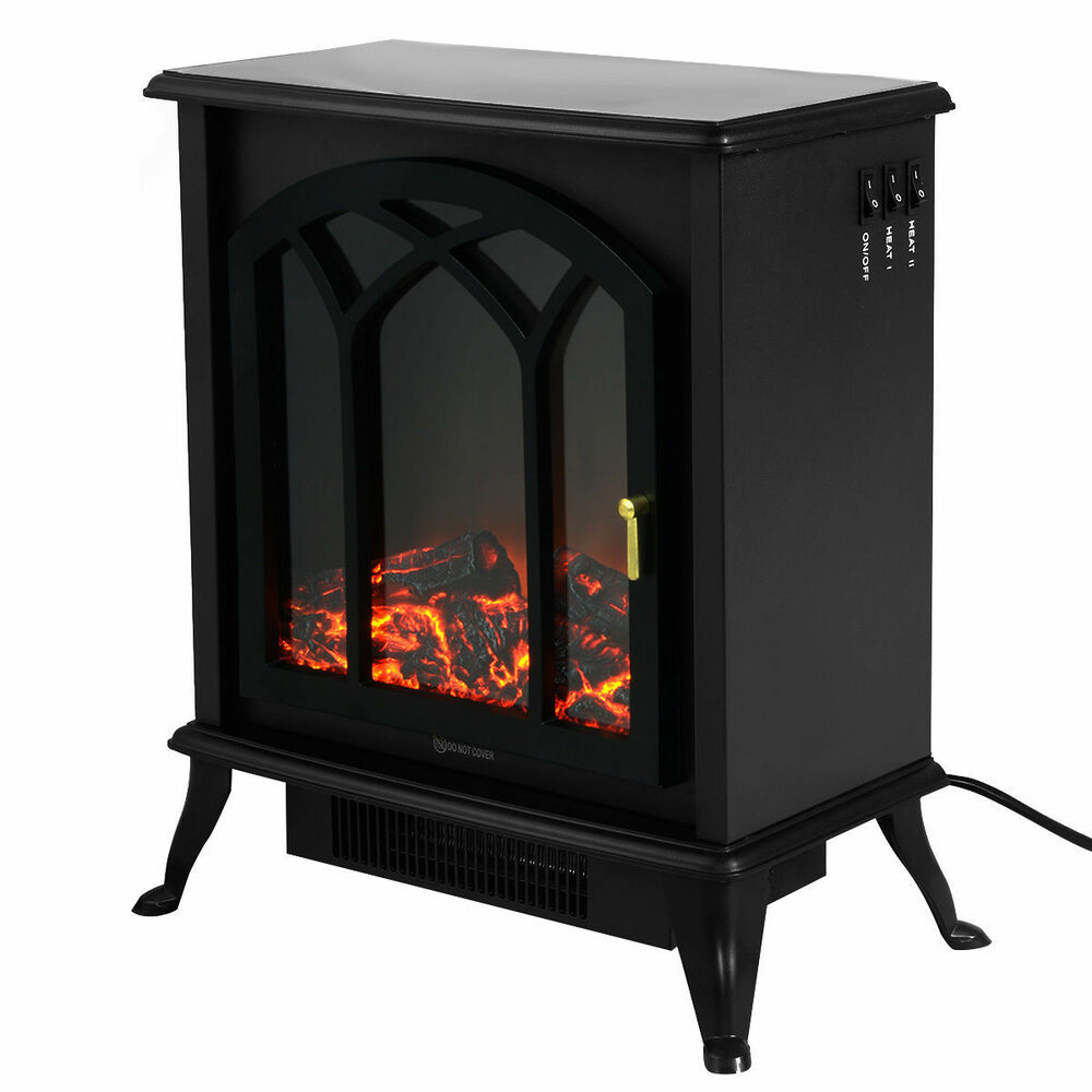 Free standing electric 1500w fireplace heater fire flame Free standing fireplace