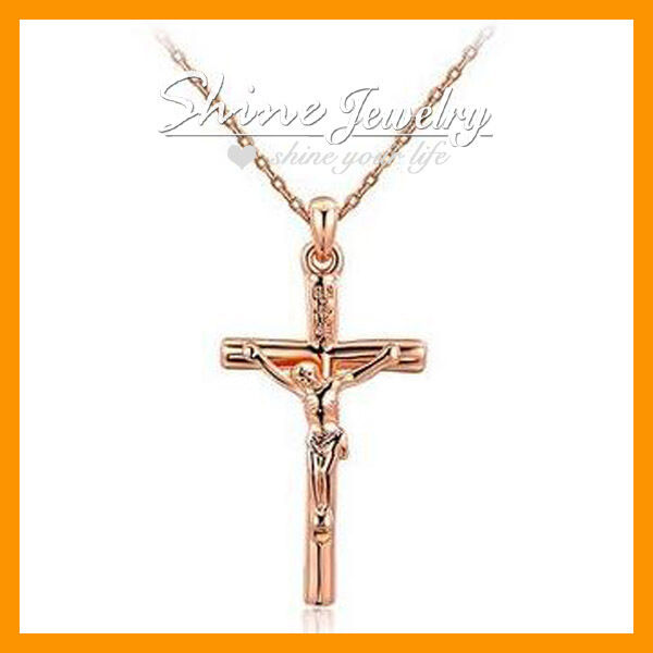 Crucifix Necklace Womens: 9K ROSE GOLD GF CRUCIFIX CROSS LADY WOMEN MENS SOLID