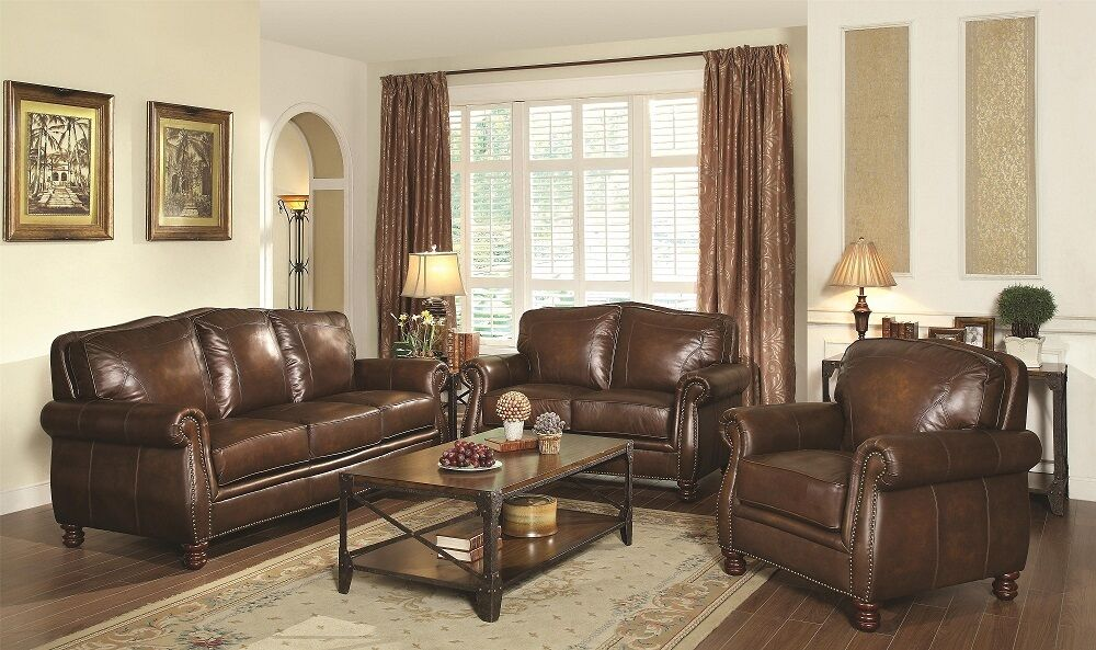 Leather 3pc sofa set sofa loveseat chair nailhead living room ebay