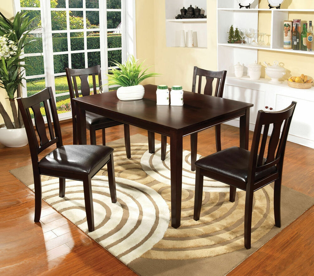 Dining Room 5pc Dining Set Espresso Dining Table Padded