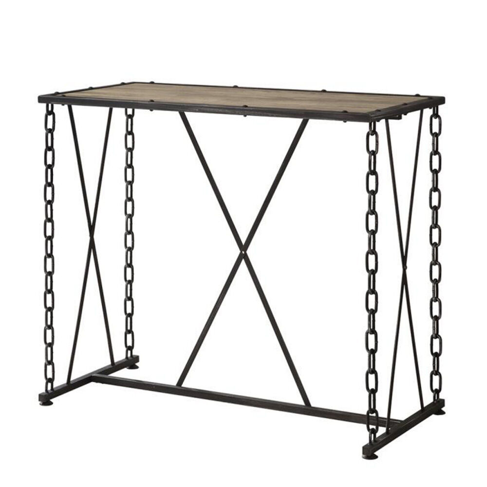 Industrial Rectangular Bar Pub Rustic Wood Top Table Black