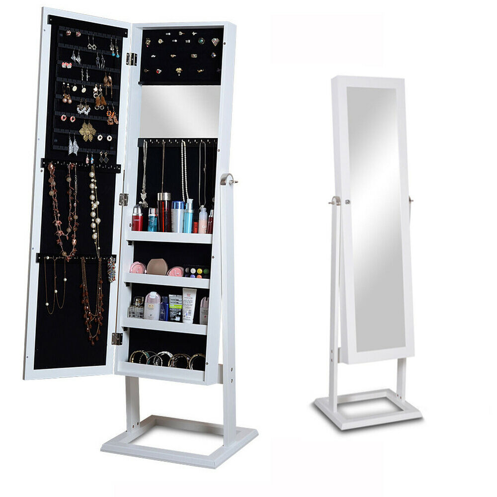 Mirrored jewelry armoire cabinet storage wood bracelets for Mirror jewelry cabinet