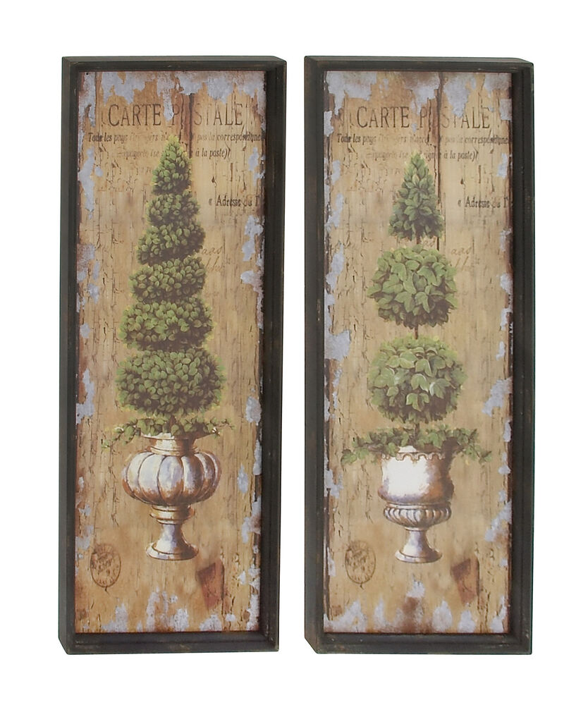 Pair 45 Large Shrub Topiary Wood Wall Art French Country