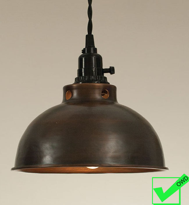 Vintage Industrial Rustic Country Dome Pendant Light Copper Finish Lamp Ebay