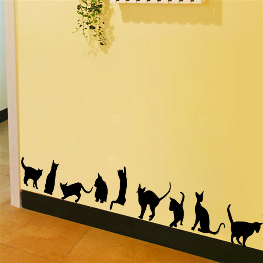 Removable art vinyl quote diy cats wall sticker decal for Stickers de pared
