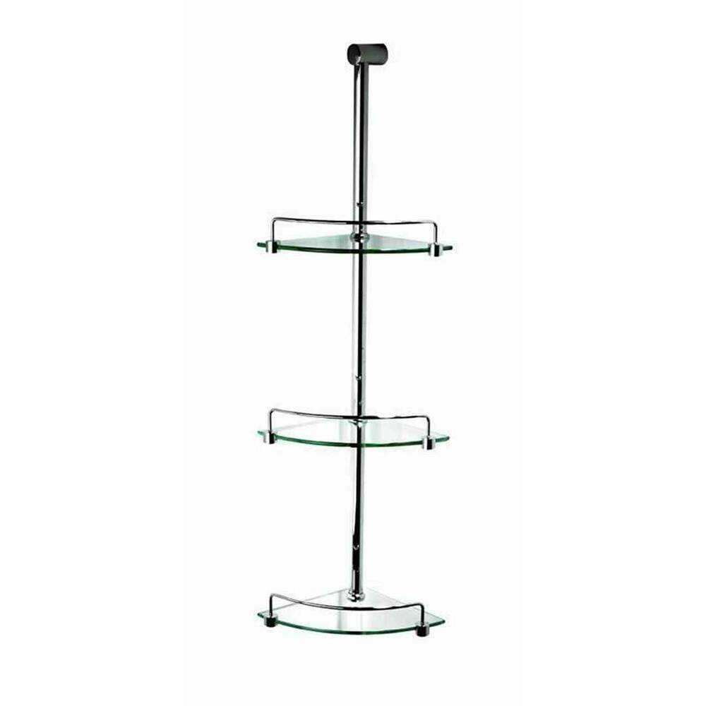 Marbletrend Metal Corner 3 Tier Glass Shower Tidy Soap Shelf Bathroom Chrome Ebay