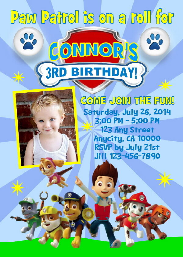 PAW PATROL CUSTOM PRINTABLE PHOTO BIRTHDAY PARTY ...