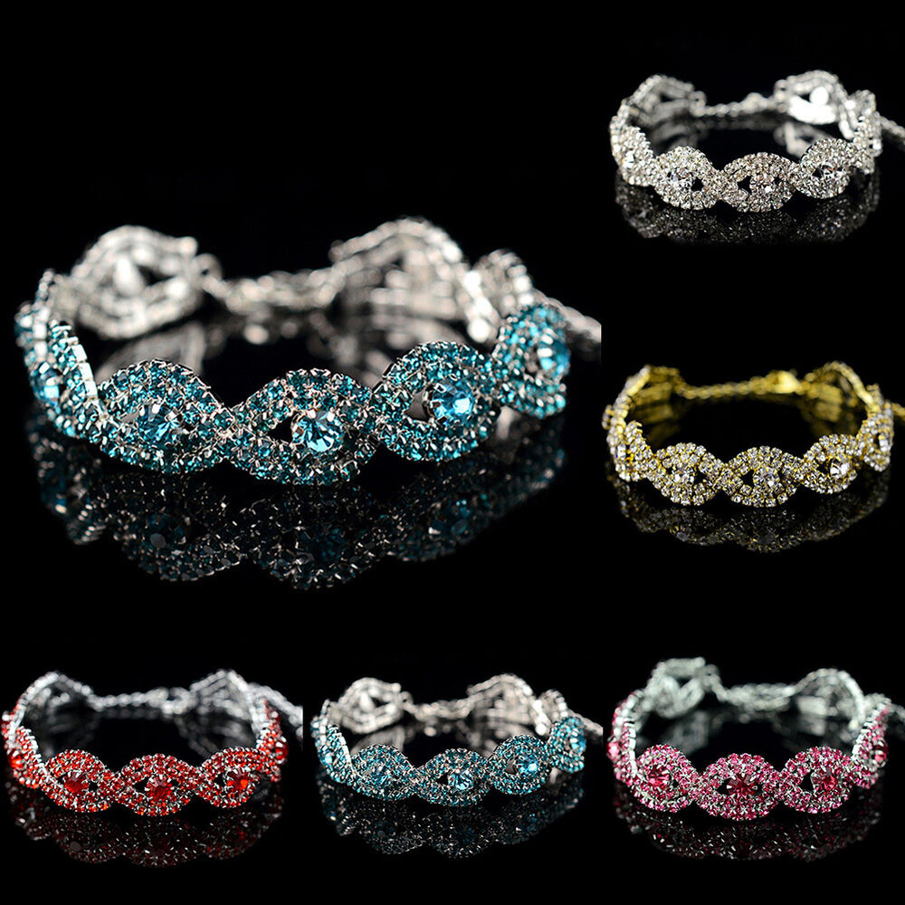 fashion ladies women crystal rhinestone inifity stretch bracelet bling bangle ebay. Black Bedroom Furniture Sets. Home Design Ideas