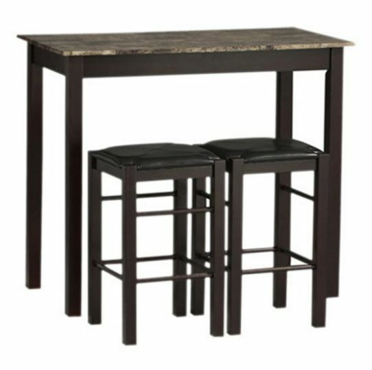 3 piece counter high dining set wood table stools kitchen for Breakfast table set with stools