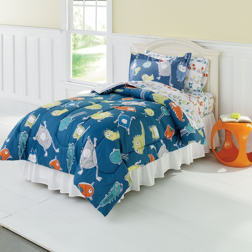 brand new jumping beans monster mania bed full size comforter sheet set ebay. Black Bedroom Furniture Sets. Home Design Ideas