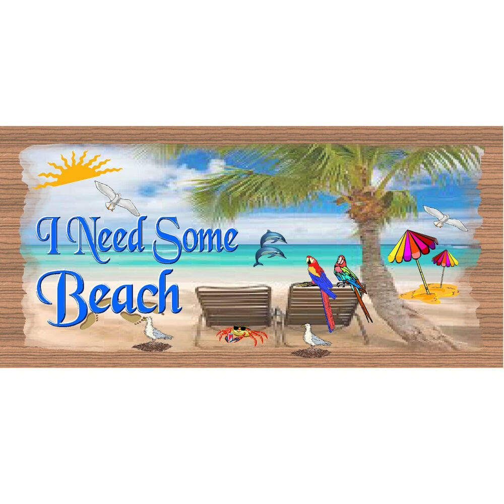 Wood signs tropical gs 1734 tropical wood plaque for Beach hut decoration items