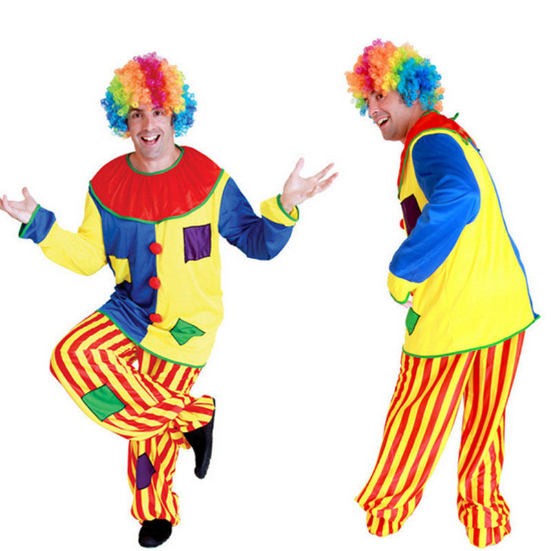 Funny Adult Men Halloween Costumes Circus Clown Costume ...