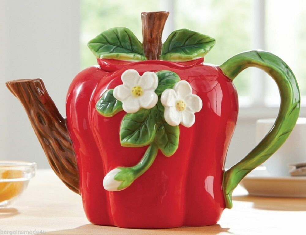 Decorative red apple flower blossom collectible teapot for Apple kitchen decoration set