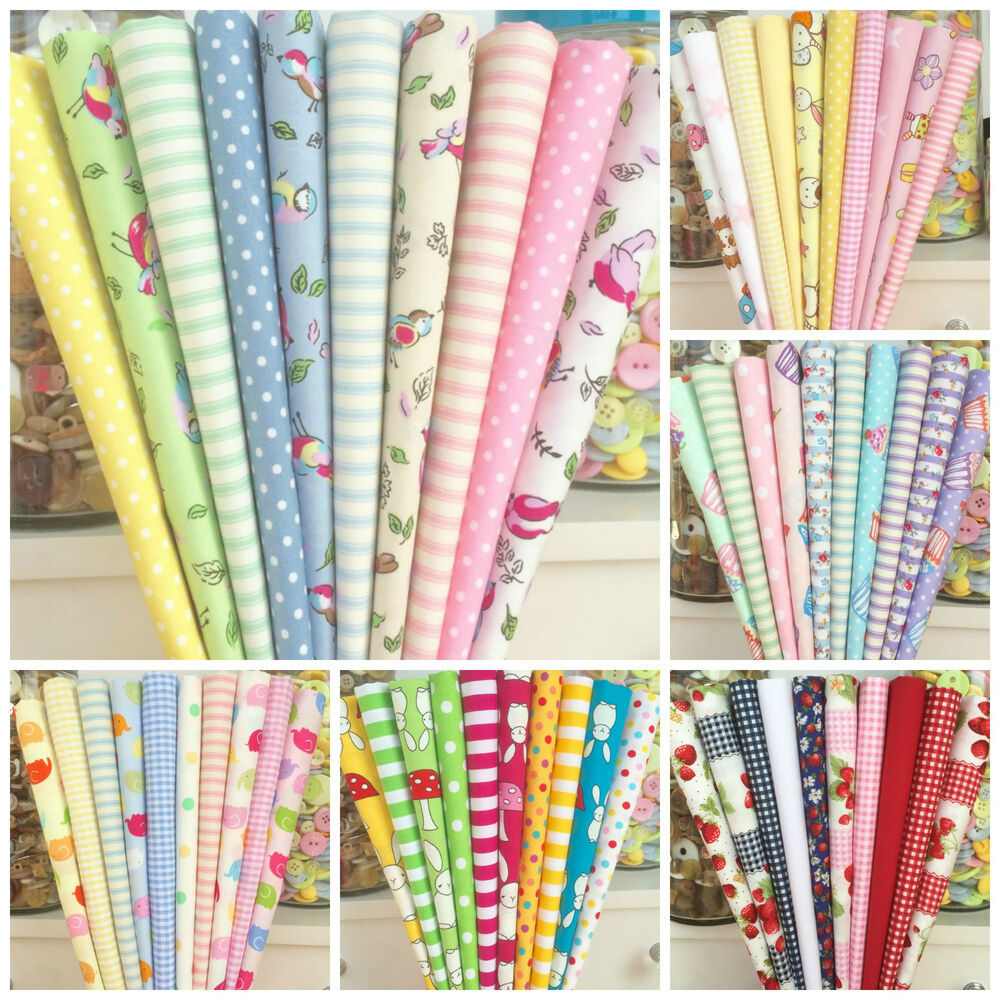 10 piece 100 cotton childrens themed small piece fabric for Childrens fabric bundles