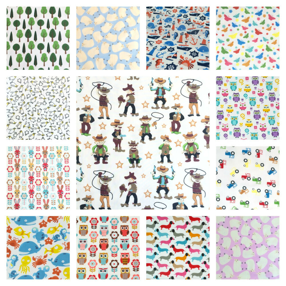 Per half metre all new childrens themed polycotton fabrics for Childrens fabric uk
