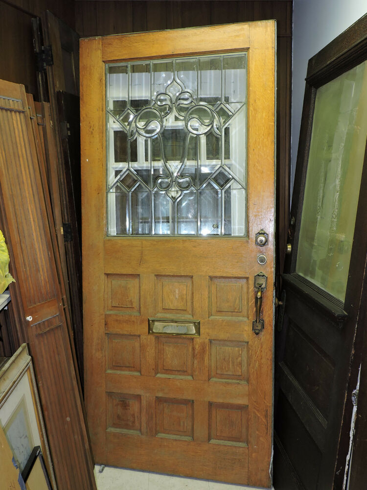 Antique 9 Panel Exterior Entry Front Wood Tiger Oak Door