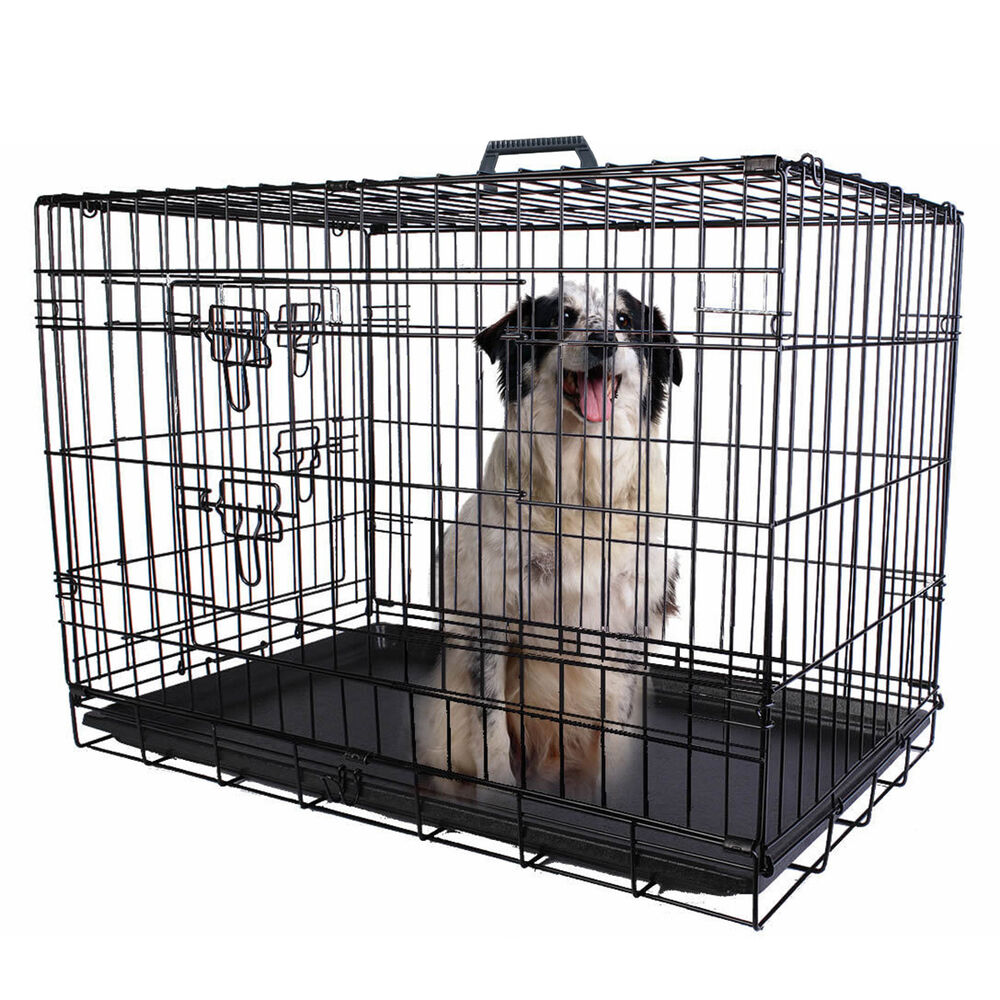 36 2 Doors Wire Folding Pet Crate Dog Cat Cage Suitcase