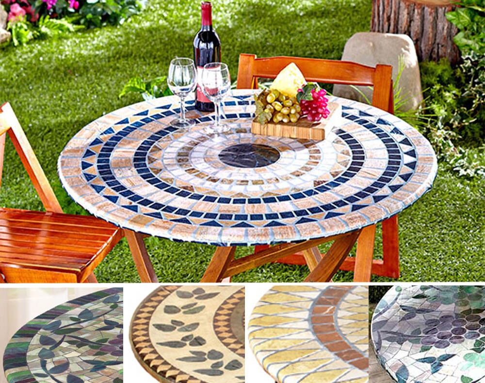 Fitted Mosaic Tablecloth IN HAND Square Round Elastic Table Cover Grapes Pati
