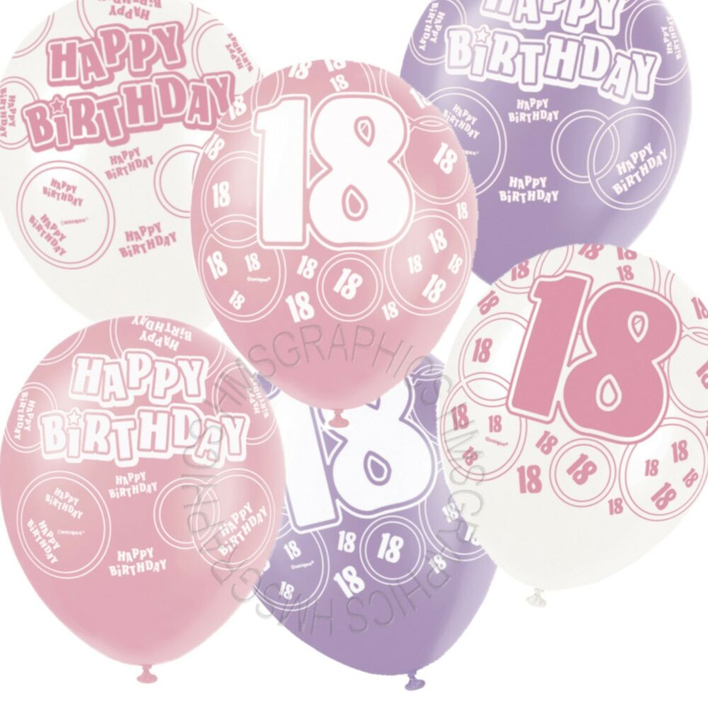 Details About 12 Happy 18th Birthday PinkLilacWhite Helium BalloonsPartyVenue Decorations