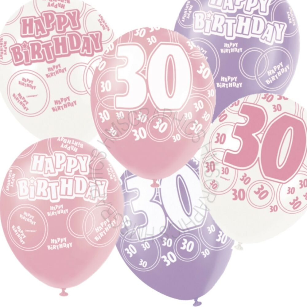 Details About 12 Happy 30th Birthday PinkLilacWhite Helium BalloonsPartyVenue Decorations