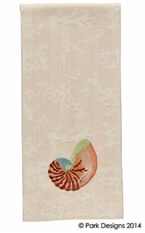 Park designs embroidered shell dishtowel hand towel beach for Beach house embroidery design