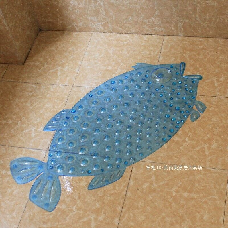 Fish bathroom pad pvc bath mat shower tub massage rug non for Fish bath rug