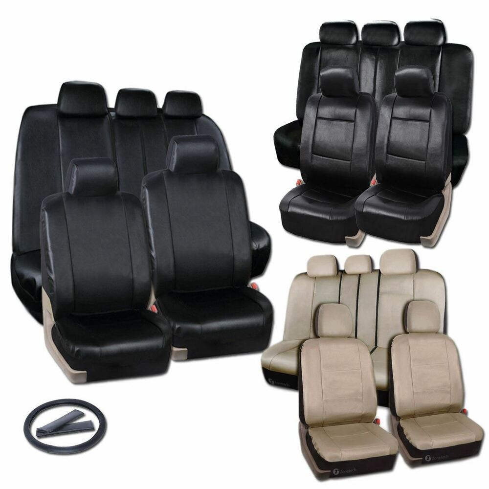 zone tech pu luxury leather car seat full set covers universal black beige gray ebay. Black Bedroom Furniture Sets. Home Design Ideas