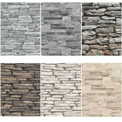 Slate stone wall effect wallpapers modern feature wall for Different wallpapers for walls