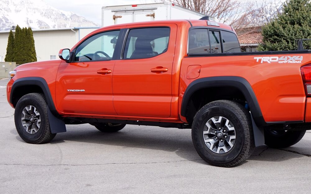 "2016+ Toyota Tacoma REGULAR Mud Flaps, ROKBLOKZ no drilling, CLEARS 35"" tires 