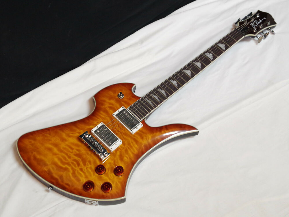 bc rich mockingbird flux electric guitar amber burst fishman pickups new ebay