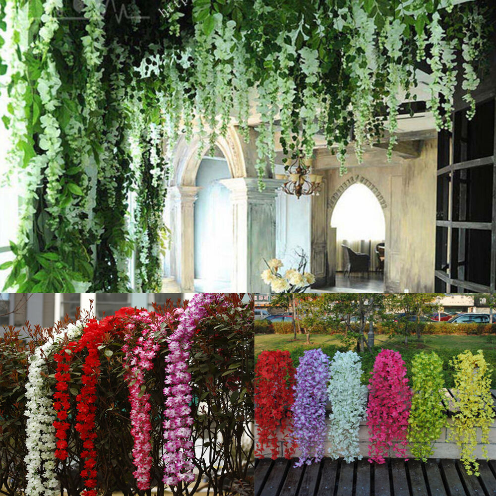 Artificial hanging ivy fake silk flower vine garland for Flower garden decorations