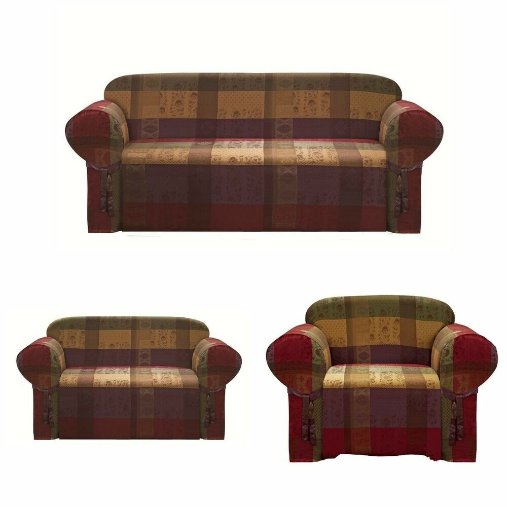 Chezmoi collection heavy duty jacquard sofa loveseat chair cover slipcover ebay Couch and loveseat covers
