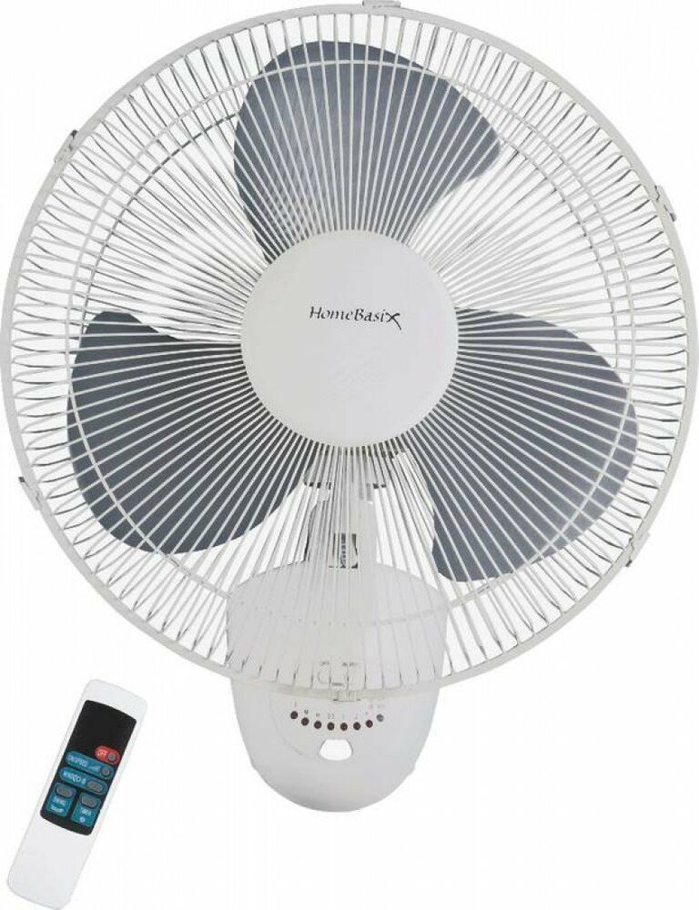 Wall Mount Fans With Remote : Homebasix fw s oscillating wall fan with remote