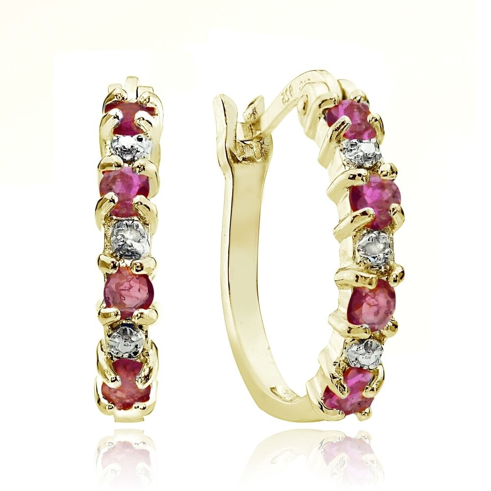 Gold Tone over Sterling Silver Genuine Ruby & Diamond ...
