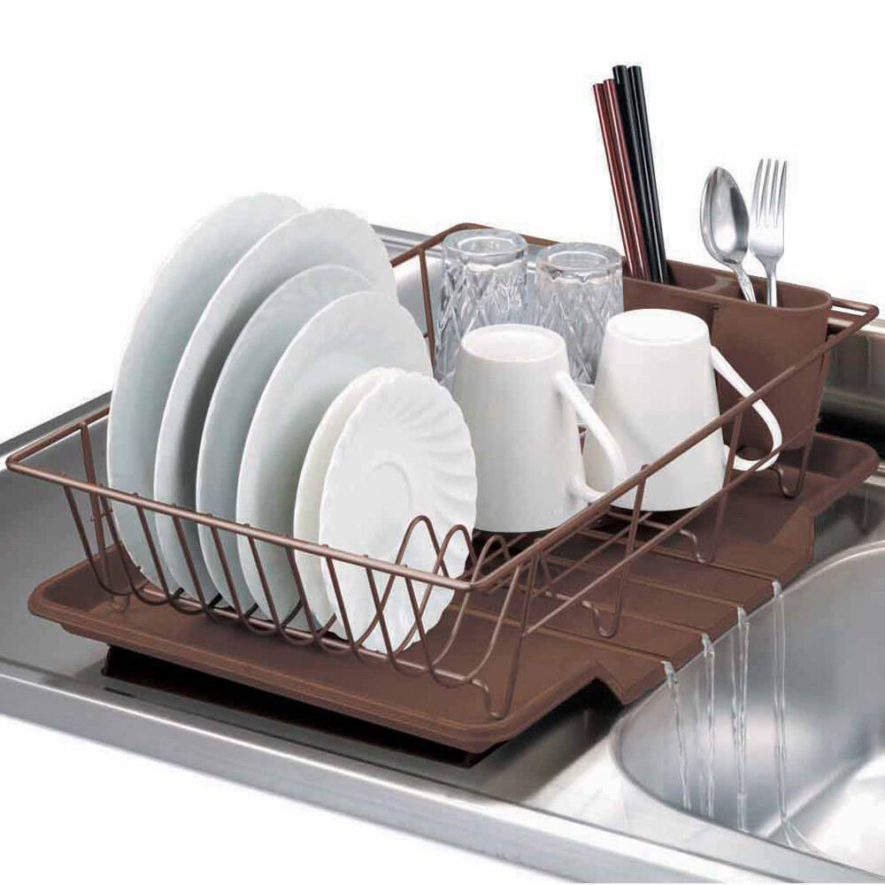 Home Basics 3 Piece Kitchen Sink Dish Drainer Set Bronze