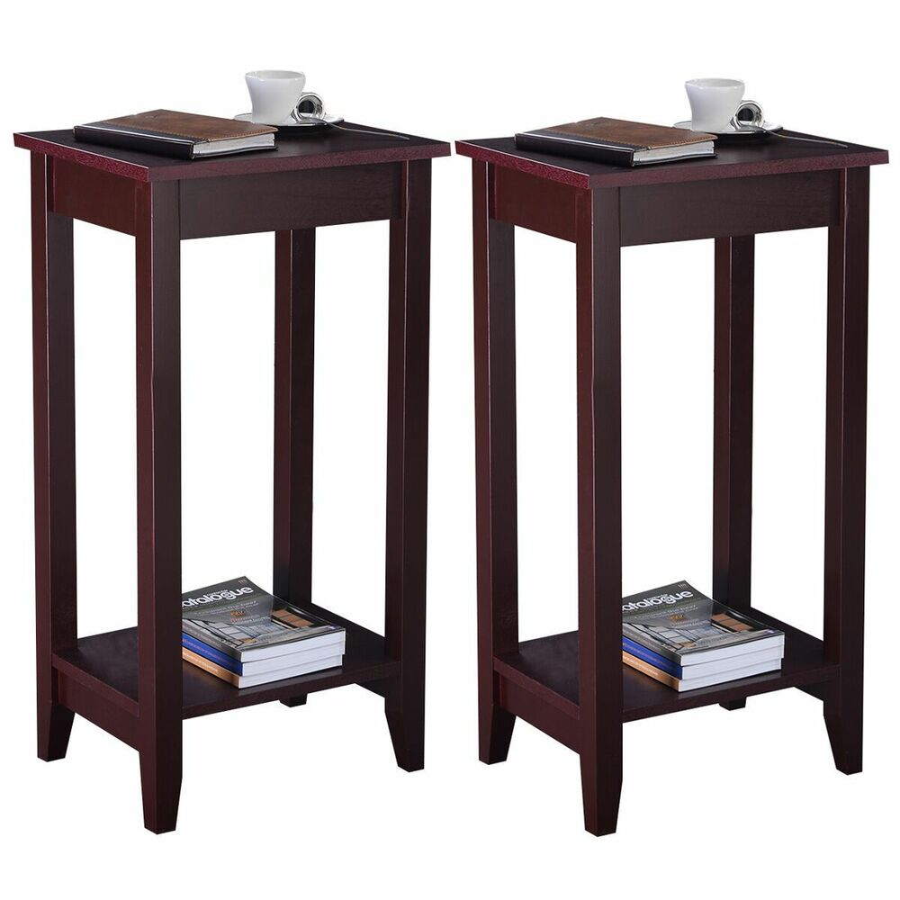 Set of 2 costway tall end table coffee stand night side for Accent end tables