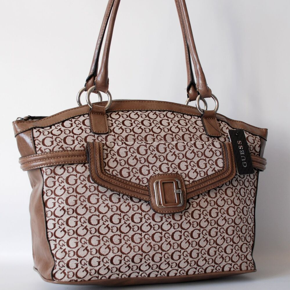 guess authentic rayma taupe signature tote bag handbag purse nwt ebay. Black Bedroom Furniture Sets. Home Design Ideas
