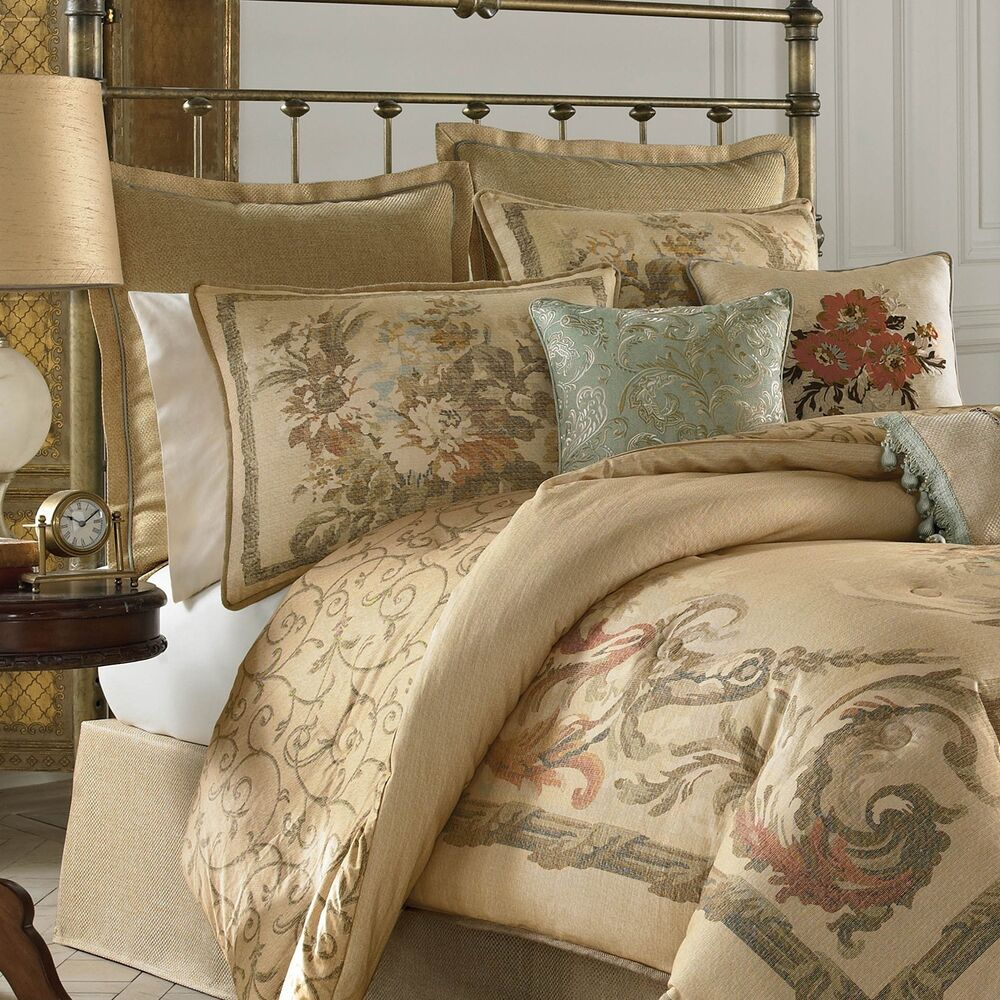 4 pc croscill normandy cal king wc comforter set beige french country floral ebay. Black Bedroom Furniture Sets. Home Design Ideas