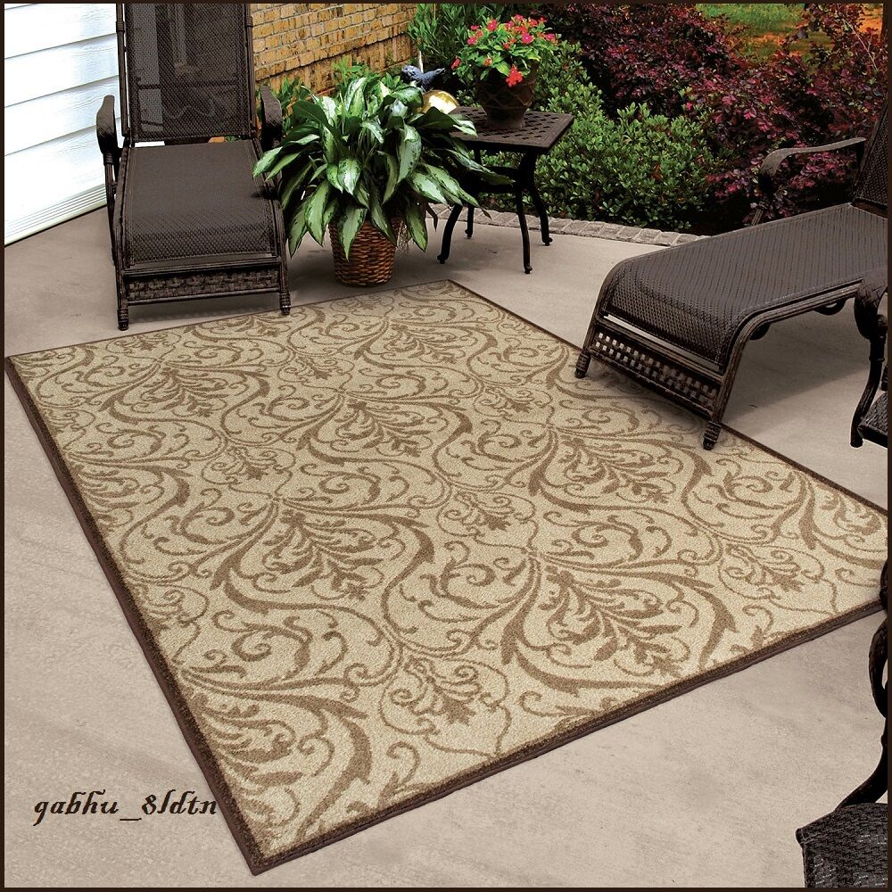 INDOOR/OUTDOOR SCROLL AREA RUG CARPET LARGE MAT BROWN ... - photo#13