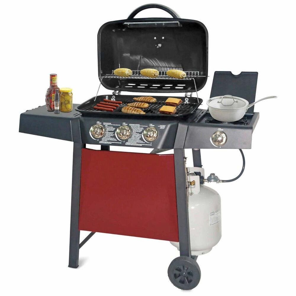 gas grill backyard 3 burner stainless steel propane bbq party barbecue cooking ebay. Black Bedroom Furniture Sets. Home Design Ideas