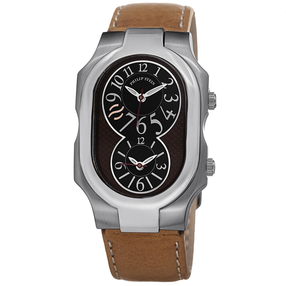 Philip stein signature large leather strap dual time men 39 s watch 2 brn cstc ebay for Philip stein watches