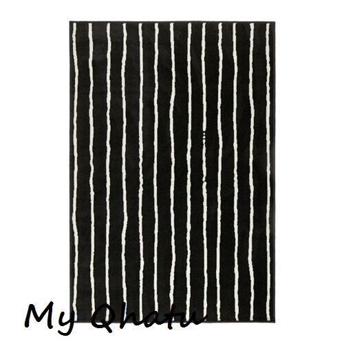 Ikea Gorlose Black White Area Rug Carpet Low Pile New