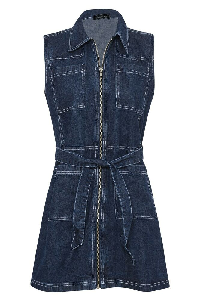 Luxury Women39s Spaghetti Strap Sleeveless Ruffle Denim Dress  ACHICGIRLCOM